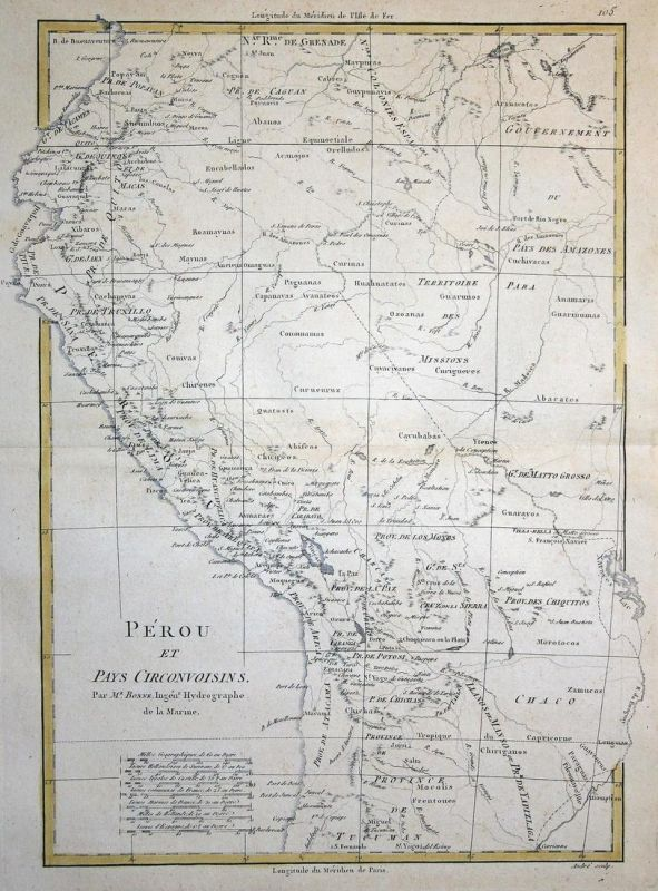 Perou et Pay Circonvoisins - Peru South America Amerika Südamerika Karte map Kupferstich copper engraving anti