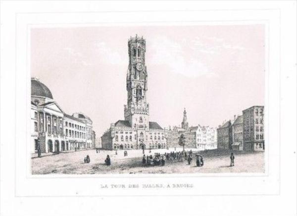 Brugge Bruges Tour des Halles Lithographie lithograph