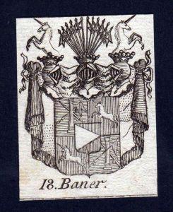 - Baner Wappen vapen coat of arms Genealogie Heraldik Kupferstich