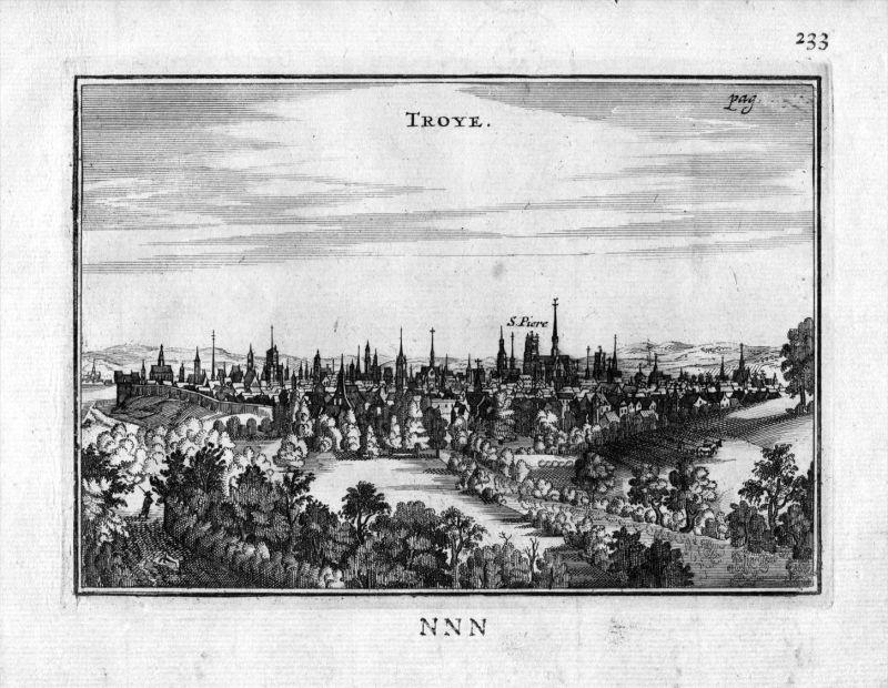 Troyes Aube vue Frankreich France gravure estampe Kupferstich