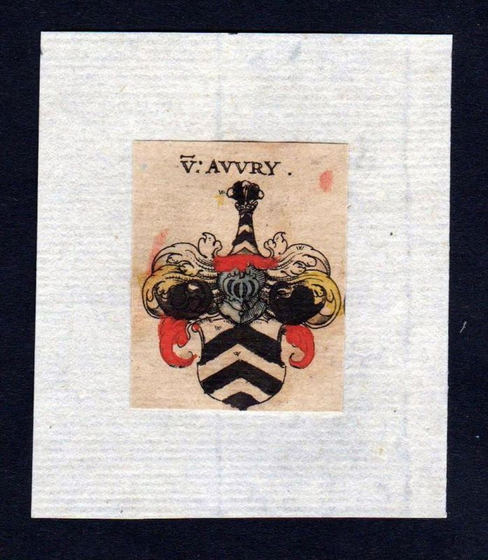 17. Jh Avvry Avery Wappen coat of arms heraldry Heraldik Kupferstich