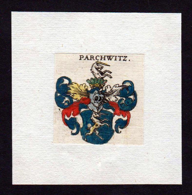 17. Jh von Parchwitz Wappen coat of arms heraldry Heraldik Kupferstich