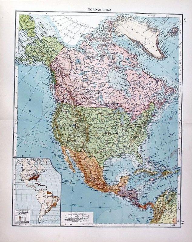 Karte Nordamerikas.Nordamerika Canada Mexico America Amerika Karte Carte Map Lithographie