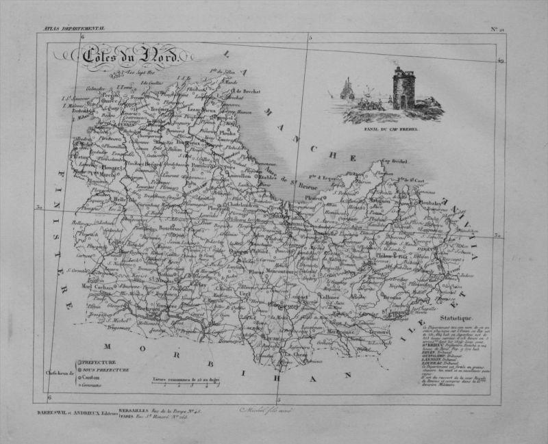 Departement Coles du Nord carte gravure Kupferstich Karte map France