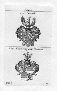 Schnell / Schönberg Haunriz - Wappen Adel coat of arms heraldry Heraldik Kupferstich