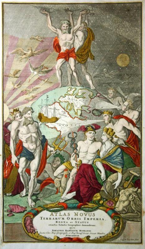 Atlas Novus - Titelblatt Homann title page Kupferstich antique print