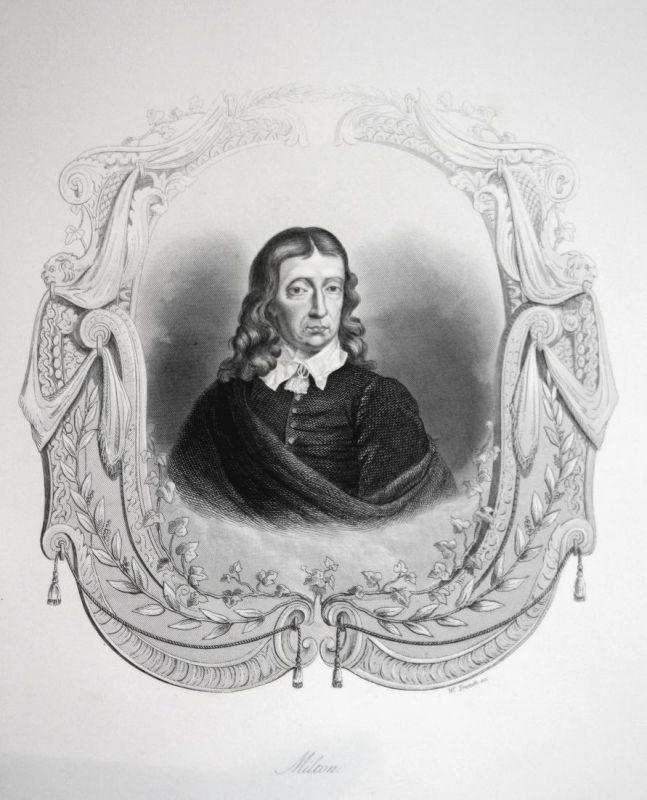 Milton - John Milton Dichter poet Schriftsteller writer Portrait Stahlstich steel engraving antique print