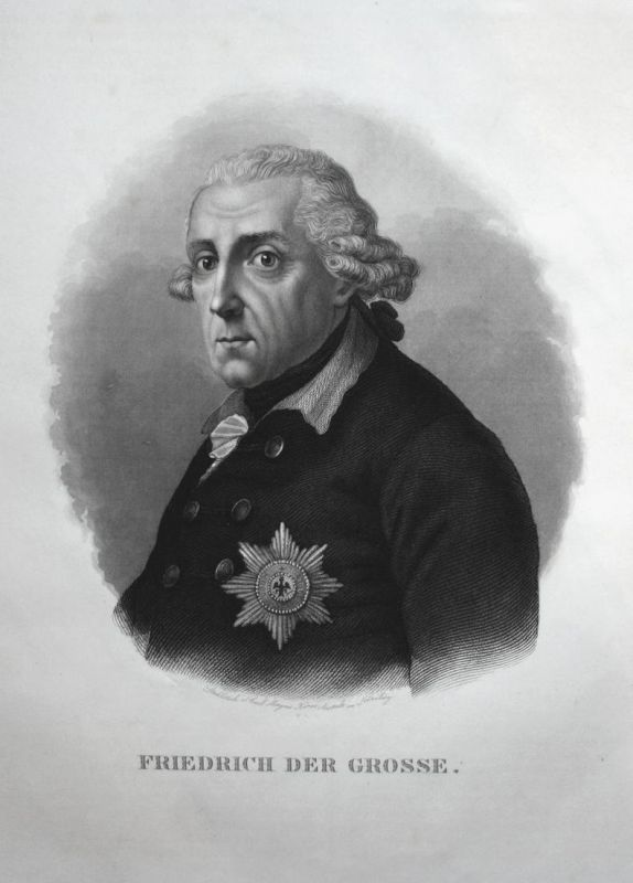 Friedrich der Grosse - Friedrich II. king Prussia Preußen König Portrait Stahlstich steel engraving antique pr