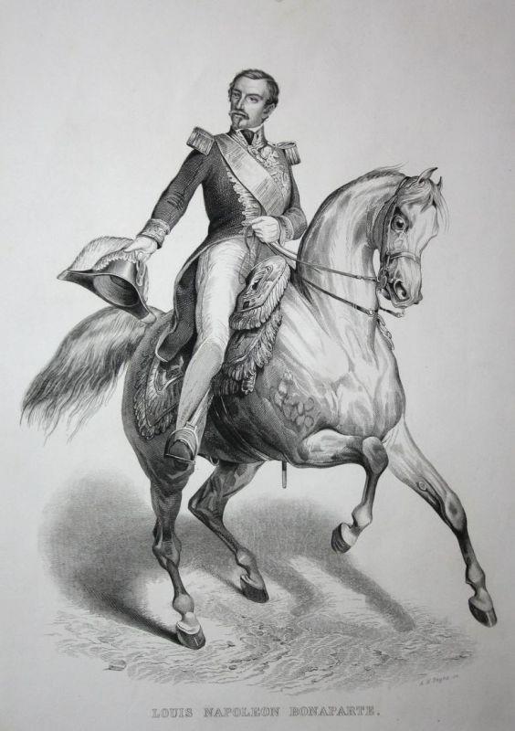Louis Napoleon Bonaparte - Napoleon III. Staatspräsident president Stahlstich steel engraving antique print