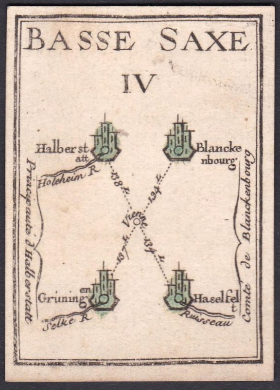 Basse Saxe IV. - Sachsen-Anhalt Blankenburg Gröningen Hasselfelde Halberstadt Original 18th century playing ca