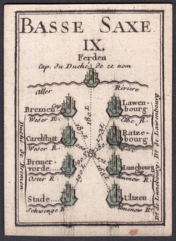 Basse Saxe IX. - Niedersachsen Bremen Stade Uelzen Lüneburg Bremervörde Original 18th century playing card car