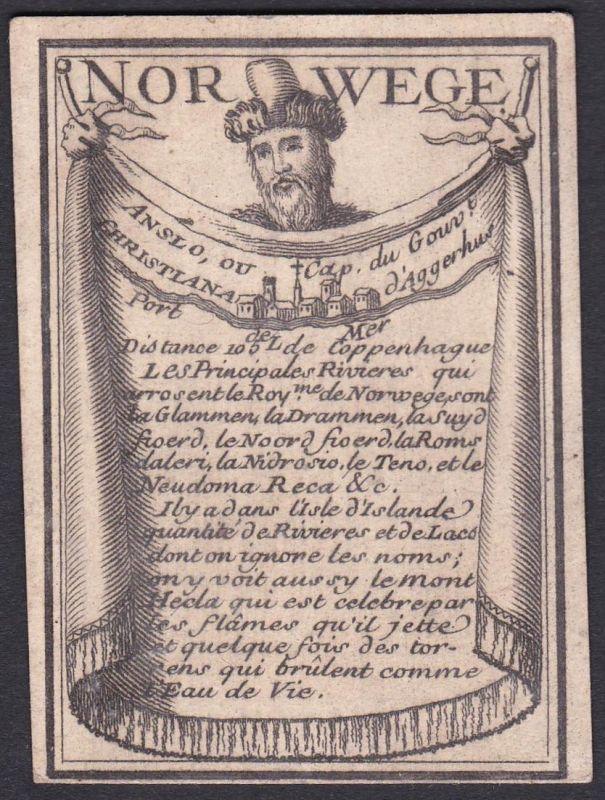 Norwege - Anslo - Norwegen Oslo Norway Original 18th century playing card carte a jouer Spielkarte cards carte
