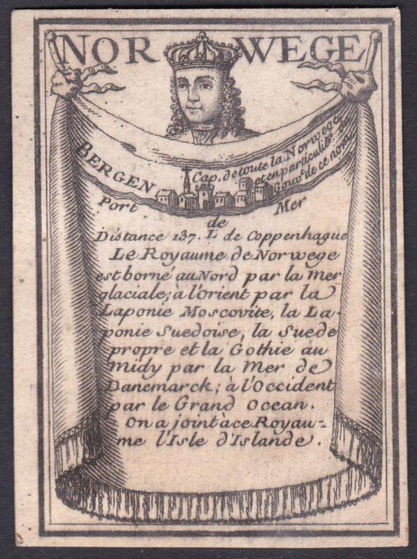 Norwege - Bergen - Norwegen Bergen Norway Original 18th century playing card carte a jouer Spielkarte cards ca