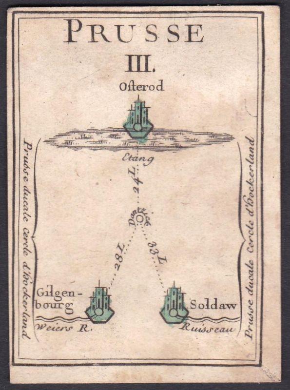Prusse III. - Prussia Preußen Ostróda Polska Original 18th century playing card carte a jouer Spielkarte cards