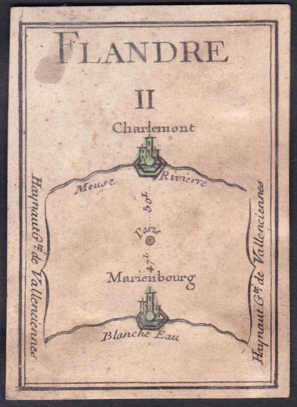 Flandre II. - Flandern Frankreich France Charlemont Mariembourg Original 18th century playing card carte a jou