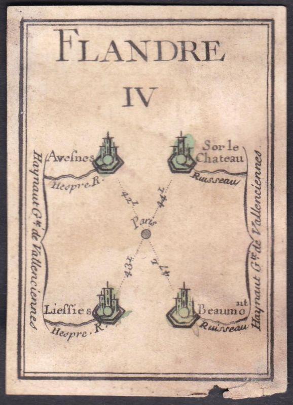 Flandre IV. - Flandern Frankreich France Avesnes-sur-Helpe Liessies Beaumont Original 18th century playing car