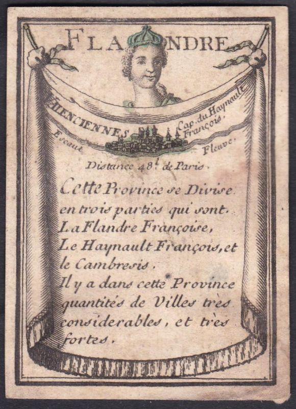 Flandre - Flandern Frankreich France Valenciennes Original 18th century playing card carte a jouer Spielkarte