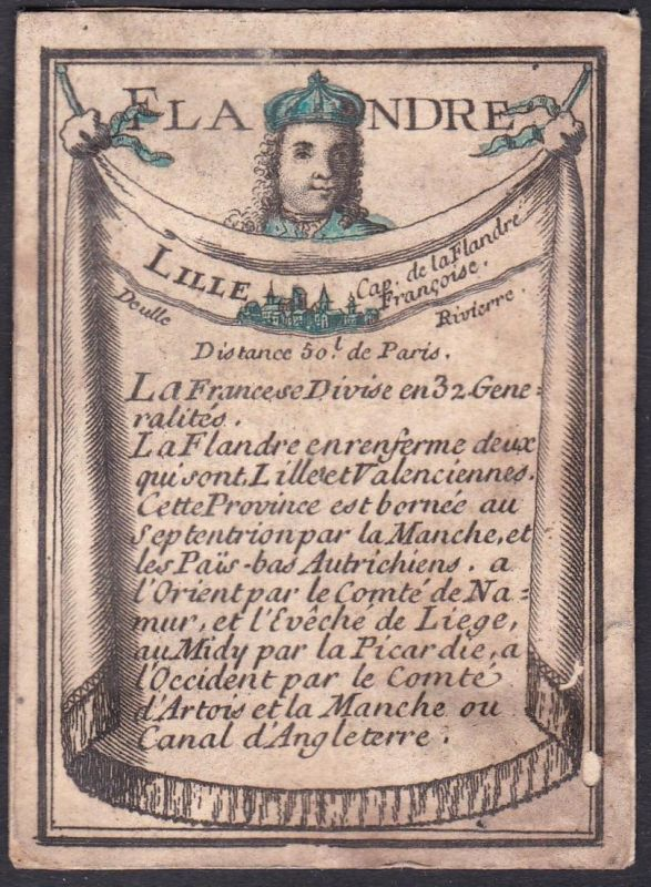 Flandre - Flandern Frankreich France Lille Original 18th century playing card carte a jouer Spielkarte cards c