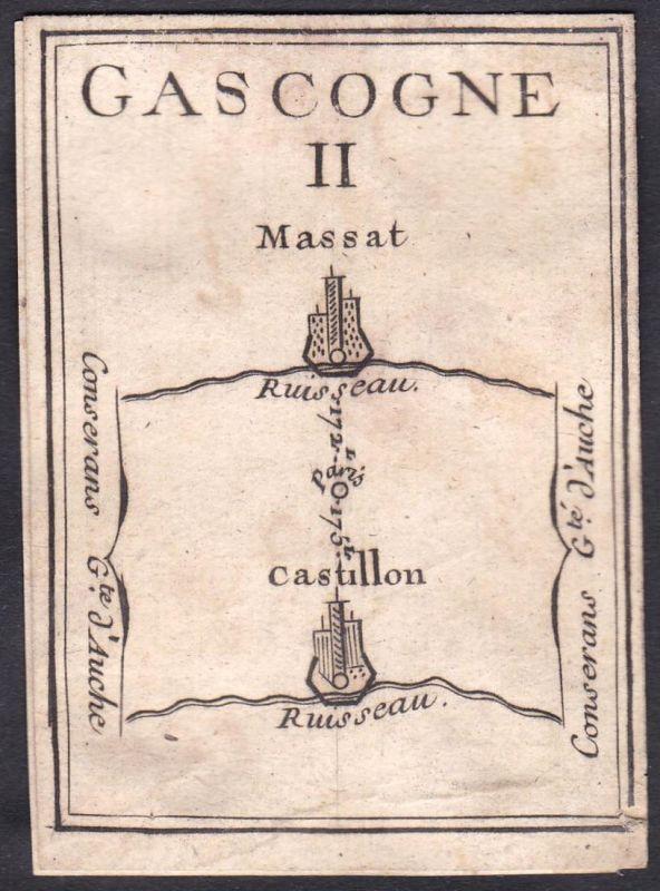 Gascogne II. - Gascogne Frankreich France Massat Castillon Original 18th century playing card carte a jouer Sp