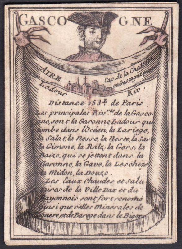 Gascogne - Gascogne Frankreich France Aire Original 18th century playing card carte a jouer Spielkarte cards c
