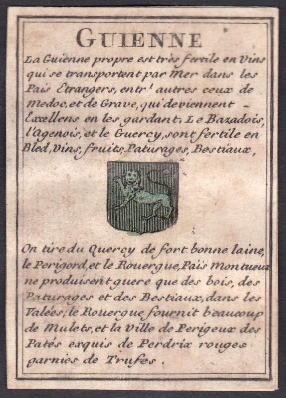 Guienne - Guyenne Frankreich France Original 18th century playing card carte a jouer Spielkarte cards cartes
