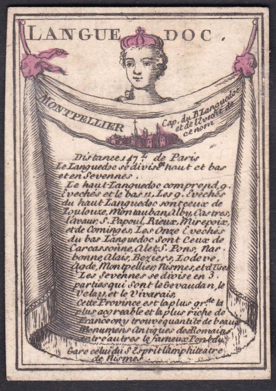 Languedoc - Montpellier - Languedoc Frankreich France Montpellier Original 18th century playing card carte a j