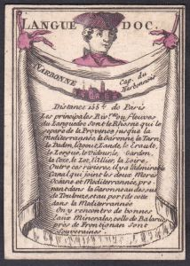 Languedoc - Narbonne - Languedoc Frankreich France Narbonne Original 18th century playing card carte a jouer S