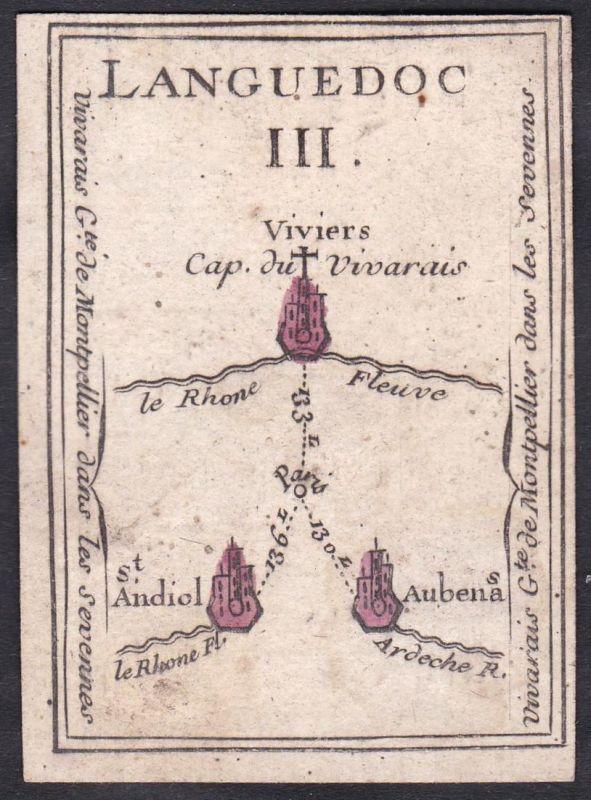 Languedoc III. - Languedoc Frankreich France Viviers Saint-Andiol Aubenas Original 18th century playing card c