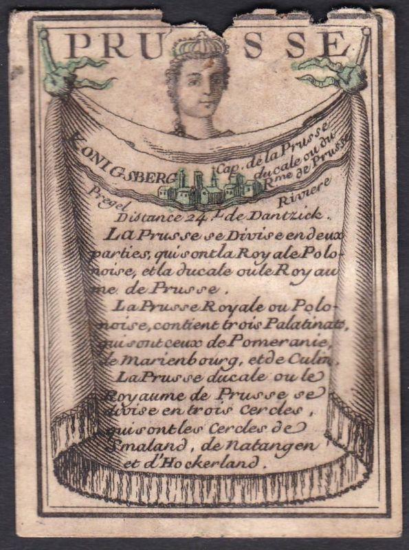 Prusse - Konigsberg - Preußen Prussia Königsberg Original 18th century playing card carte a jouer Spielkarte c