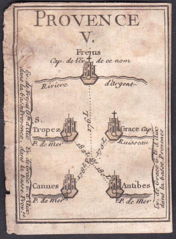 Provence V. - Provence Frankreich France Fréjus Saint-Tropez Cannes Antibes Original 18th century playing card