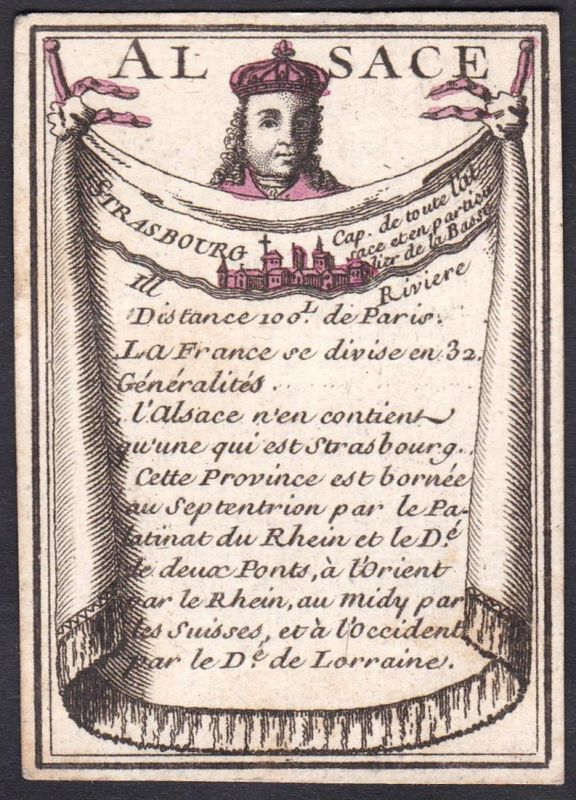 Alsace - Strasbourg - Elsass Straßburg Frankreich France Original 18th century playing card carte a jouer Spie