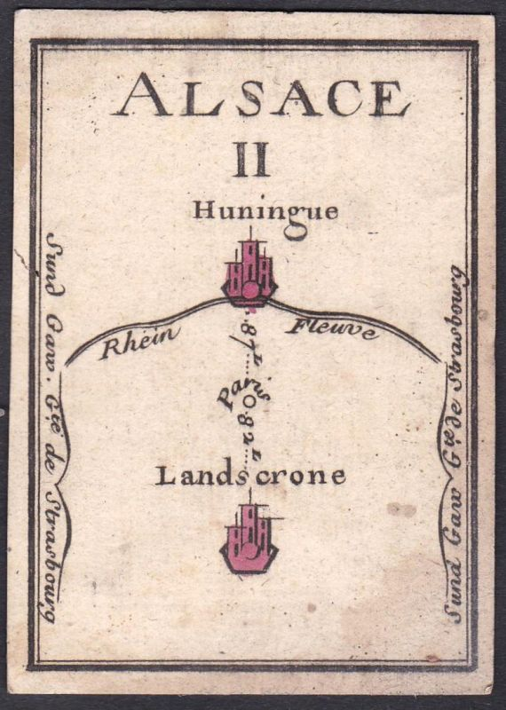 Alsace II. - Elsass Frankreich France Huningue Landskron Original 18th century playing card carte a jouer Spie