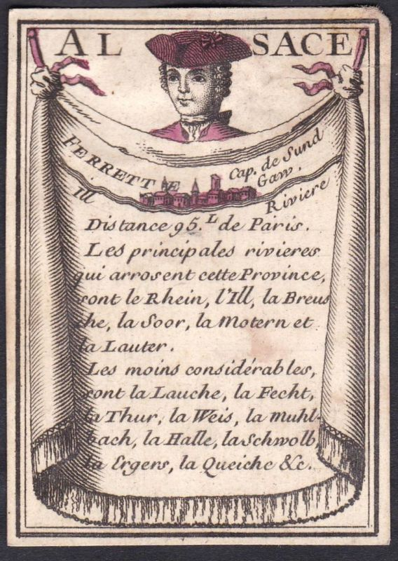 Alsace - Ferrett - Elsass Ferrette Frankreich France Original 18th century playing card carte a jouer Spielkar