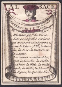 Alsace - Ferrett - Elsass Ferrette Frankreich France Original 18th century playing card carte a jouer Spielkar