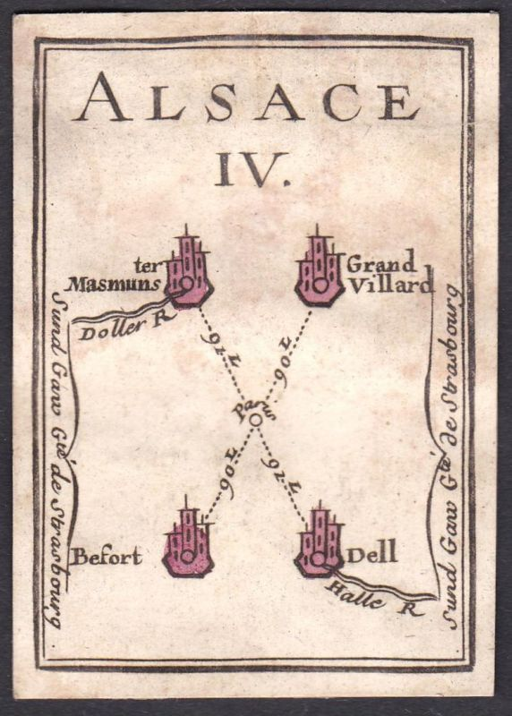 Alsace IV. - Elsass Frankreich France Masevaux Grandvillars Beaufort Delle Original 18th century playing card