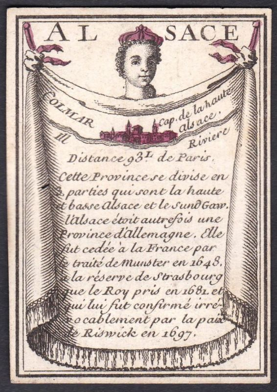 Alsace - Colmar - Elsass Colmar Frankreich France Original 18th century playing card carte a jouer Spielkarte