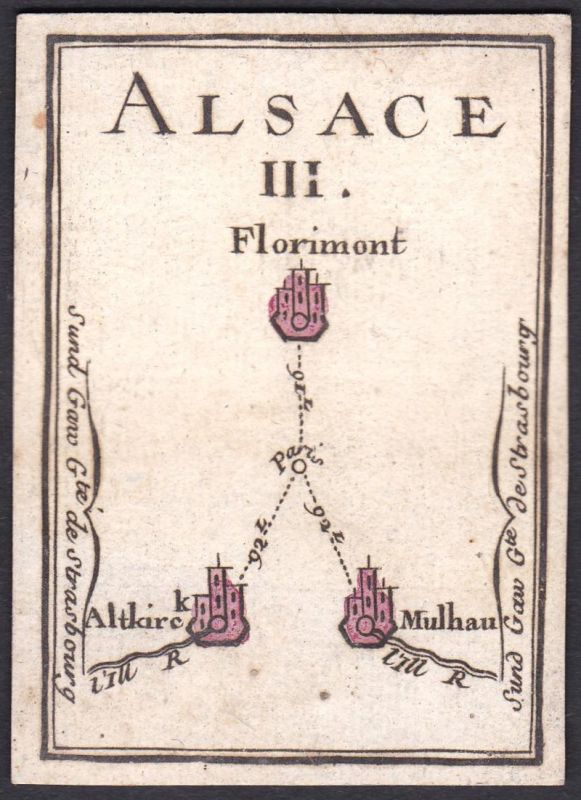 Alsace III. - Elsass Frankreich France Florimont Altkirch Mülhausen Original 18th century playing card carte a