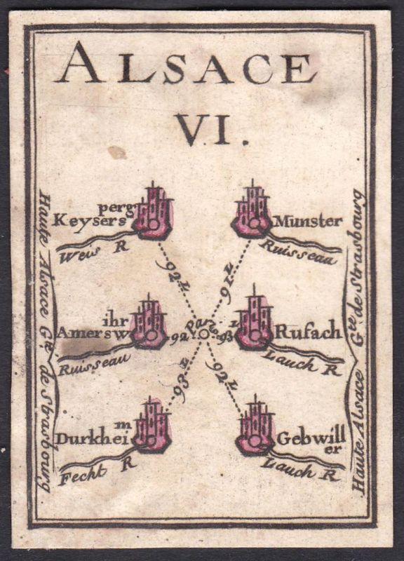 Alsace VI. - Elsass Frankreich France Kaysersberg Munster Ammerschwihr Rouffach Guebwiller Original 18th centu