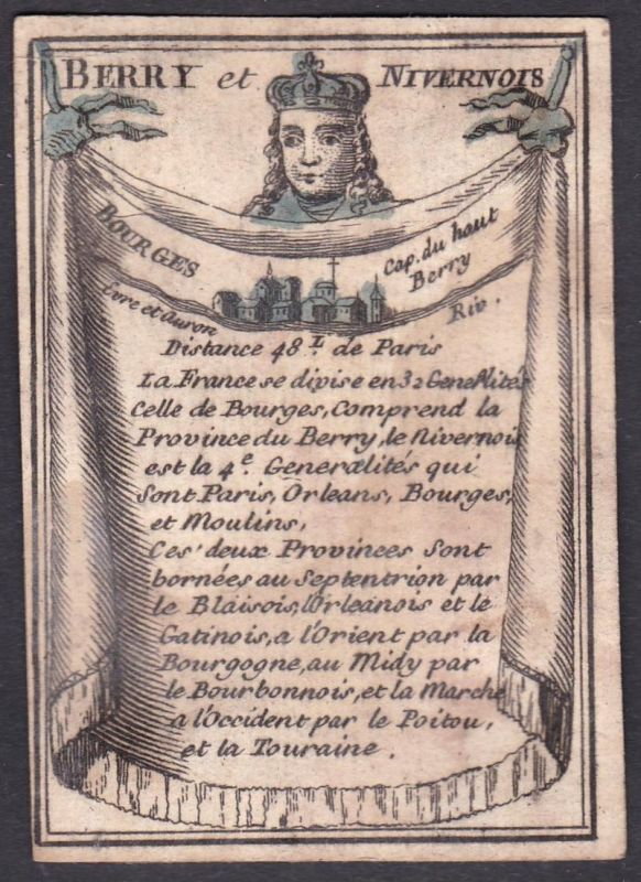 Berry et Nivernois - Bourges - Nivernais Bourges Frankreich France Original 18th century playing card carte a
