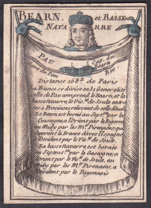 Bearn et Basse Navarre - Pau  - Béarn Nieder-Navarra Pau Frankreich France Original 18th century playing card