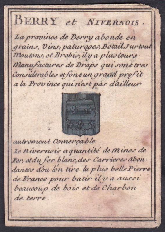 Berry et Nivernois - Nivernois Berry Frankreich France Original 18th century playing card carte a jouer Spielk