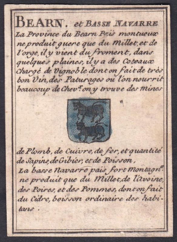 Bearn et Basse Navarre - Nieder-Navarra Béarn Frankreich France Original 18th century playing card carte a jou
