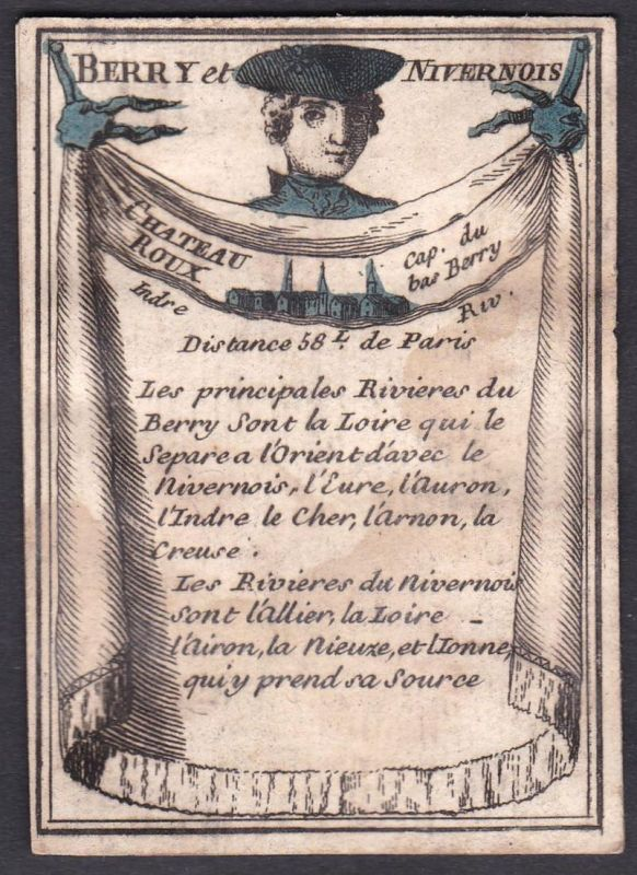 Berry et Nivernois - Chateau Roux - Nivernais Châteauroux Frankreich France Original 18th century playing card