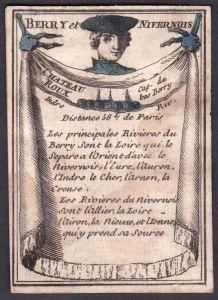 Berry et Nivernois - Chateau Roux - Nivernais Châteauroux Frankreich France Original 18th century playing card