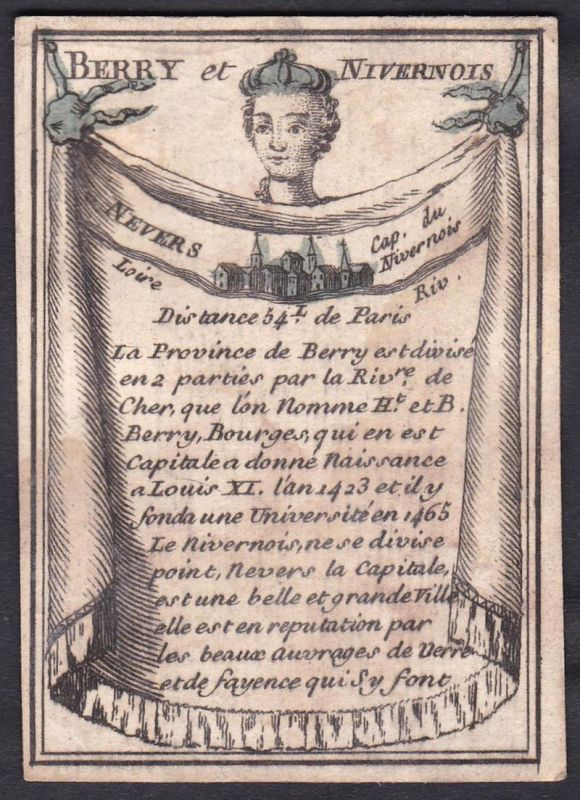Berry et Nivernois - Nevers - Nivernais Nevers Frankreich France Original 18th century playing card carte a jo