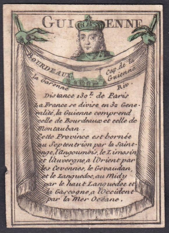 Guienne - Bourdeaux - Bourdeaux Frankreich France Guyenne Original 18th century playing card carte a jouer Spi