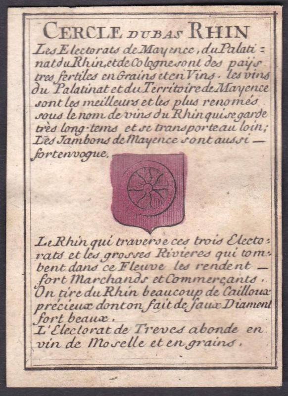 Cercle du Bas Rhin - Bas Rhin Frankreich France Original 18th century playing card carte a jouer Spielkarte ca