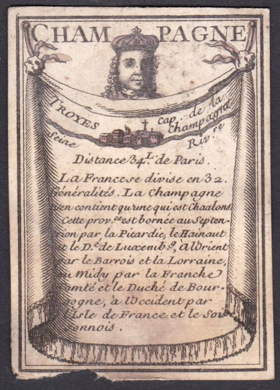 Champagne - Troyes - Troyes Frankreich France Original 18th century playing card carte a jouer Spielkarte card