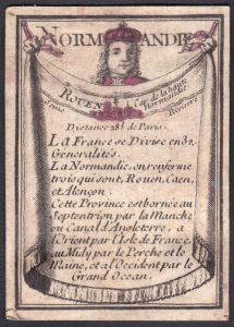 Normandie - Rouen - Rouen Frankreich France Normandie Original 18th century playing card carte a jouer Spielka