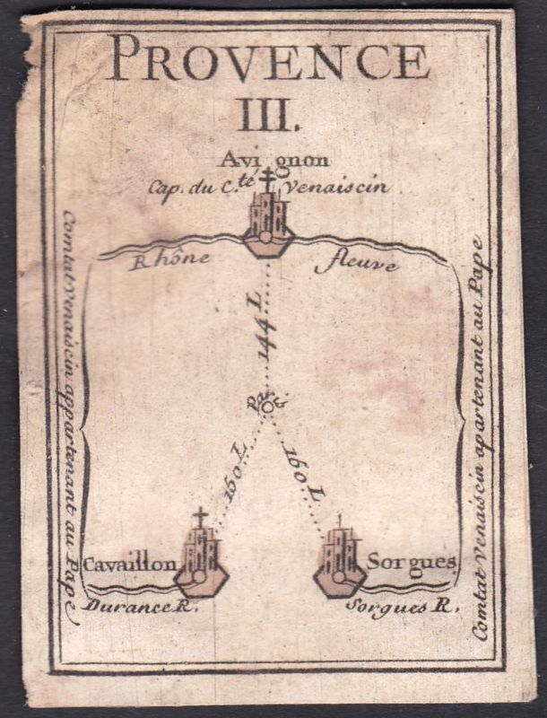 Provence III. - Provence Frankreich France Avignon Cavaillon Sorgues Original 18th century playing card carte